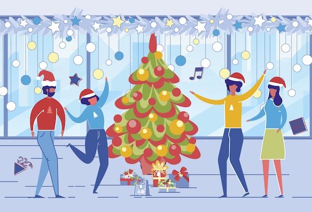 Mensen vieren kerst op het werk