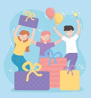 Mensen vieren met cadeaus