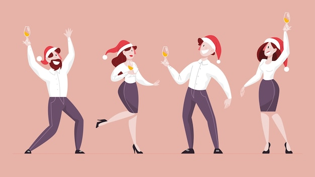 Mensen vieren nieuwjaar en kerstmis op kantoor. bedrijfsfeest, karakter in kerstman hoed. illustratie in cartoon-stijl