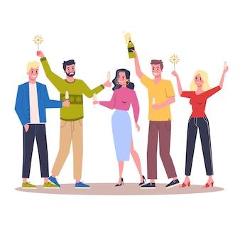 Mensen vieren nieuwjaar en kerstmis op kantoor. bedrijfsfeest, karakter veel plezier. illustratie in cartoon-stijl