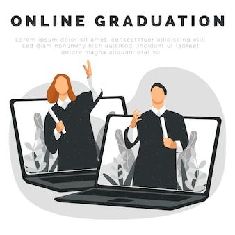Mensen vieren online afstuderen