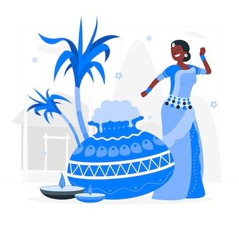 Mensen vieren pongal festival concept illustratie
