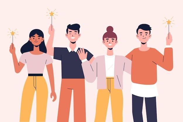 Mensen vieren samen