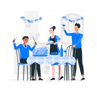 Mensen vieren thanksgiving concept illustratie