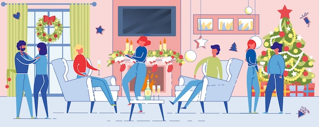 Mensen vieren wintervakantie in feestelijke kamer.