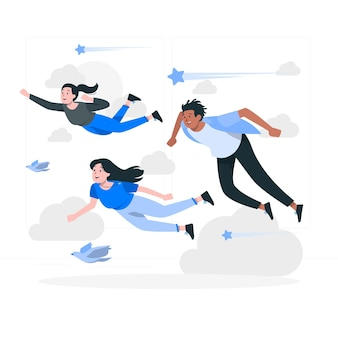 Mensen vliegen concept illustratie