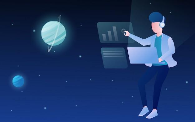 Mensen vliegen op de ruimte met de verbeelding van de futuristische laptop technologie