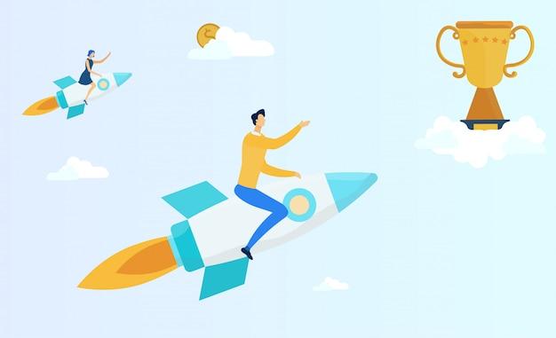 Mensen vliegen op raket om trofee of geld te krijgen.