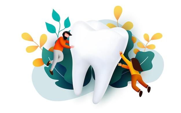 Mensen vliegen rond grote tand tandheelkundige kliniek tanden zorg webpagina banner presentatie online enquête met karakters