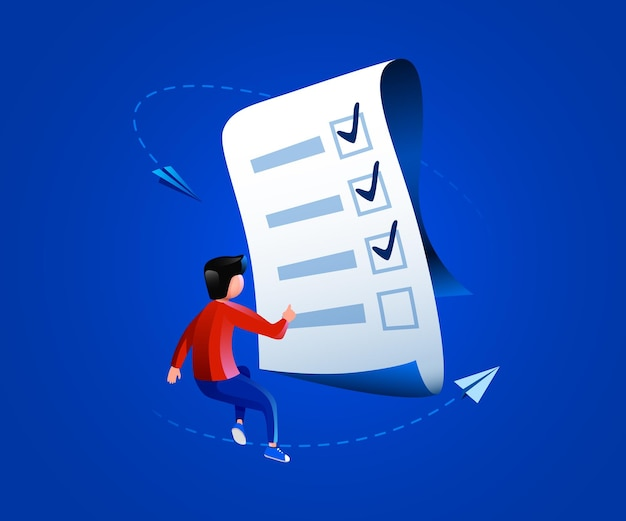 Mensen vliegen rond met een papieren checklistmanager of een testreview-concept