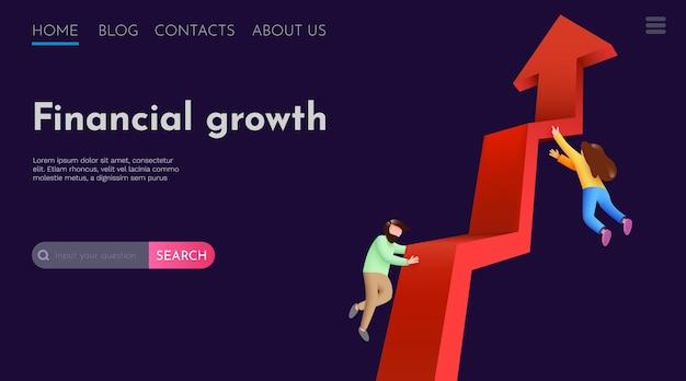 Mensen vliegen rond stijgende pijl investeringswinst en financieel succes website bestemmingspagina sjabloon