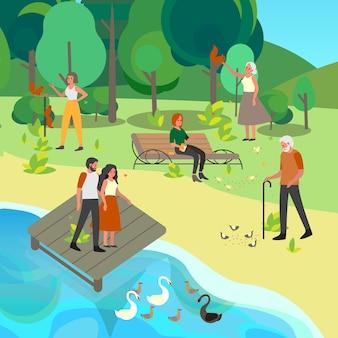 Mensen voeden vogels en dieren in het park. gepensioneerde vrouw en man voeren duif. mensen voeden squirel en zwaan in park. vrijetijdsbesteding.