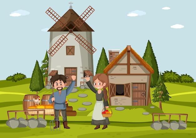 Mensen voor de middeleeuwse huisstijl