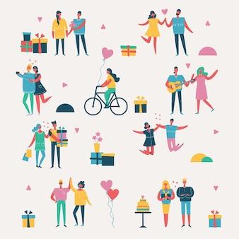Mensen, vrienden die nieuwjaarsfeest vectorillustratie vieren. cool vector flat character design op nieuwjaars- of verjaardagsfeestje met mannelijke en vrouwelijke personages die plezier hebben, springen en een toast uitbrengen