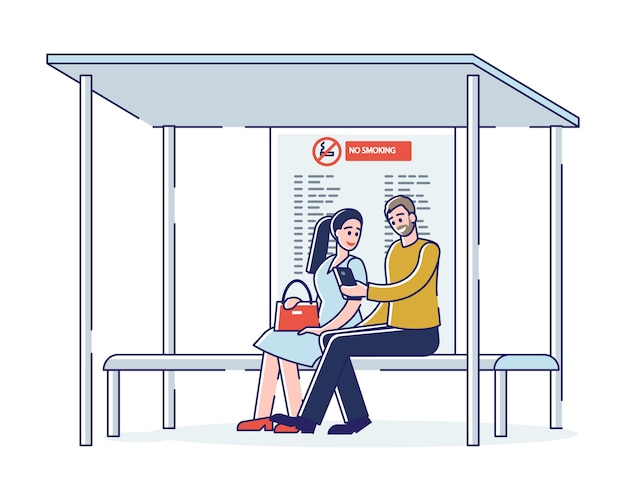 Mensen wachten bus zittend op een bankje bij bushalte. stadsgemeenschap vervoer pendelaars concept
