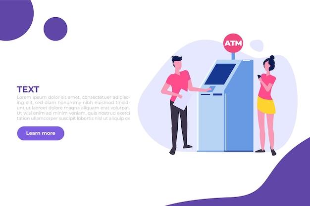 Mensen wachten in de rij bij de geldautomaat wachtrij bij de geldautomaat financiële transacties uitvoeren vector i