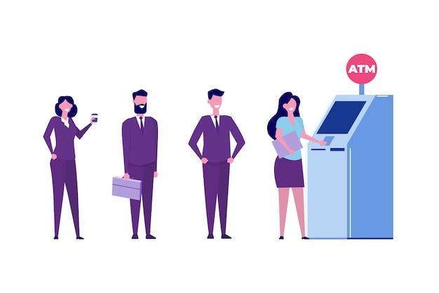 Mensen wachten in de rij bij de geldautomaat