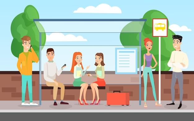 Mensen wachten op een bus. staande, pratende en zittende mensen op het busstation, bushalte concept in platte cartoon stijl.