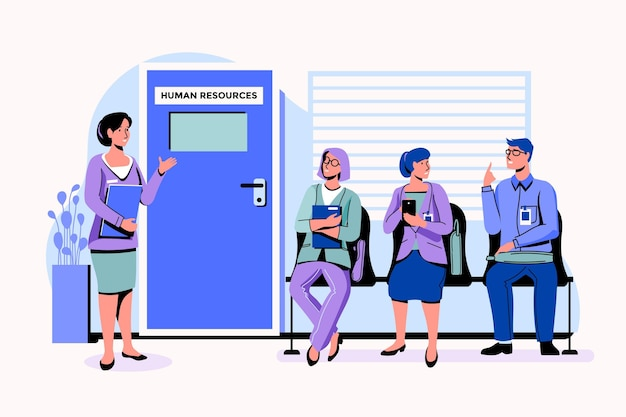 Mensen wachten op een sollicitatiegesprek