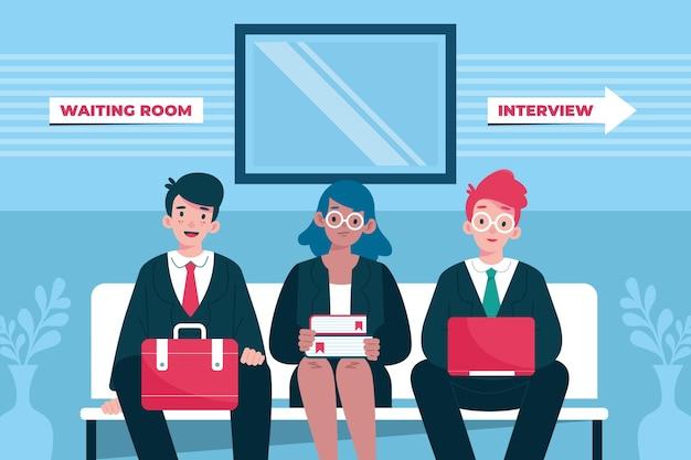 Mensen wachten op sollicitatiegesprek