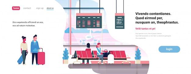 Mensen wachten opstijgen in luchthaven hal vertrek lounge passagiers terminal check interieur platte banner kopie ruimte