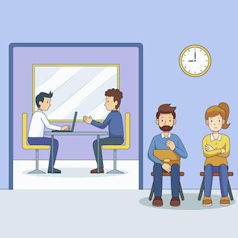 Mensen wachten sollicitatiegesprek concept