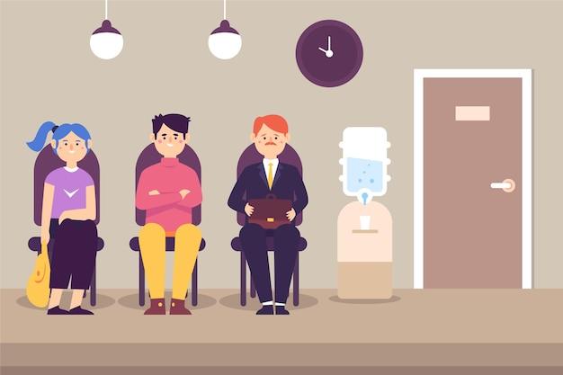Mensen wachten sollicitatiegesprek