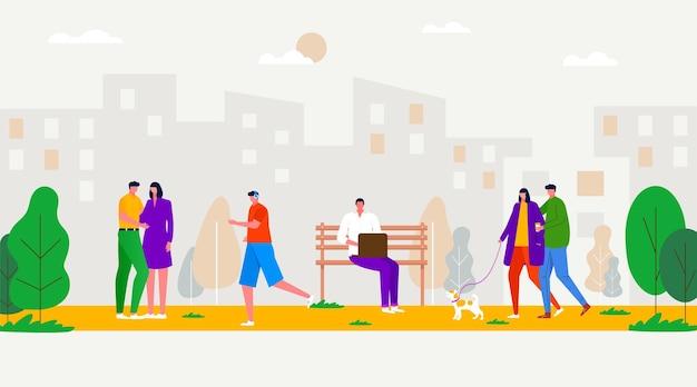 Mensen wandelen in het park, sporten, ontspannen, verbinden, op de bank zitten, spelen met de hond