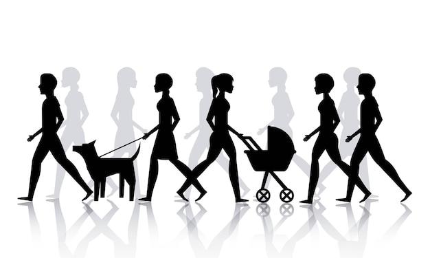 Mensen wandelende ontwerp, vector grafische illustratie eps10