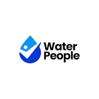 Mensen waterdruppel check logo sjabloon