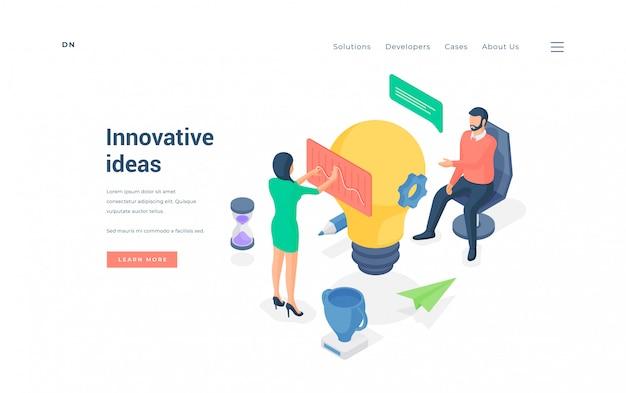 Mensen werken aan innovatieve ideeën. isometrische vectorillustratie