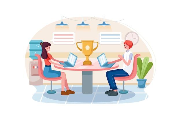 Mensen werken in een team en bereiken het doel