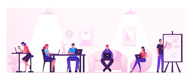 Mensen werken ontspannen koffie drinken en berichten uitwisselen met gadgets in coworking area of creative office. cartoon vlakke afbeelding