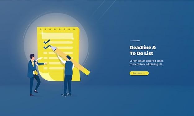 Mensen werken op deadline en op bestemmingspagina voor lijsten