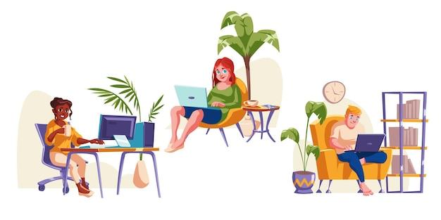 Mensen werken op kantoor aan huis, zittend in een stoel met laptop
