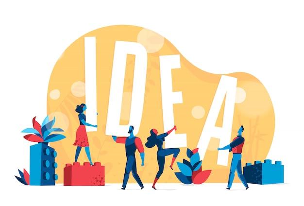 Mensen werken samen aan een geweldig idee