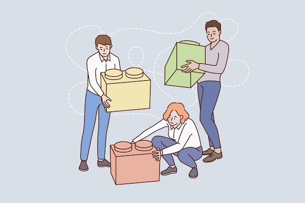 Mensen werken samen die zich bezighouden met teamwerkactiviteit