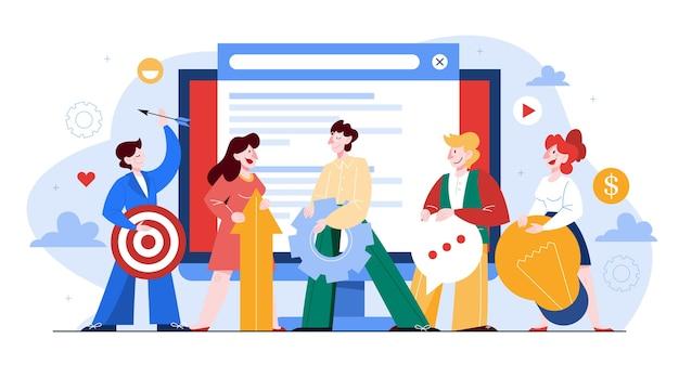 Mensen werken samen in teambannerset. strategie en bedrijfsplanning. werknemers ondersteunen elkaar. idee van succes en overwinning. illustratie in cartoon-stijl