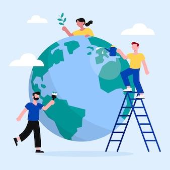 Mensen werken samen om de planeet te redden