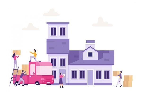 Mensen werken samen om naar een nieuw huis te verhuizen
