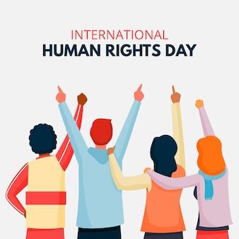 Mensen wijzen op de dag van de mensenrechten