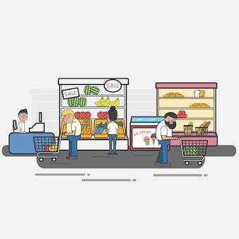 Mensen winkelen bij een supermarkt