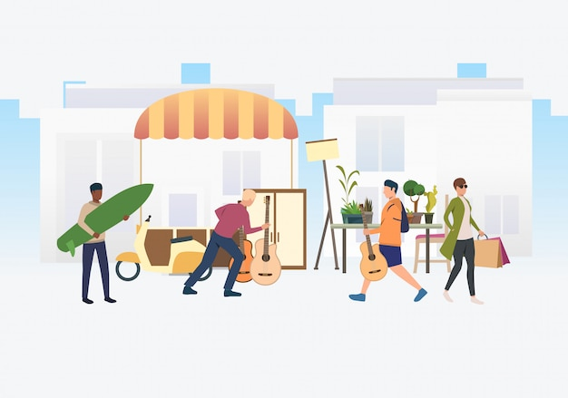 Mensen winkelen en buiten lopen