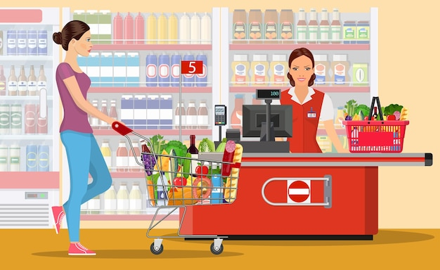 Mensen winkelen in de supermarkt