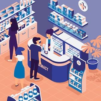 Mensen winkelen in een isometrische apotheek