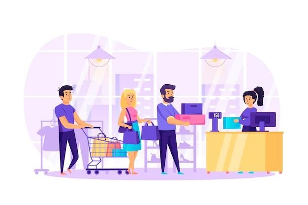 Mensen winkelen in winkel plat ontwerpconcept met de scène van mensen karakters