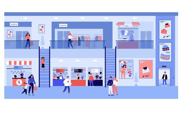 Mensen winkelen in winkelcentrum