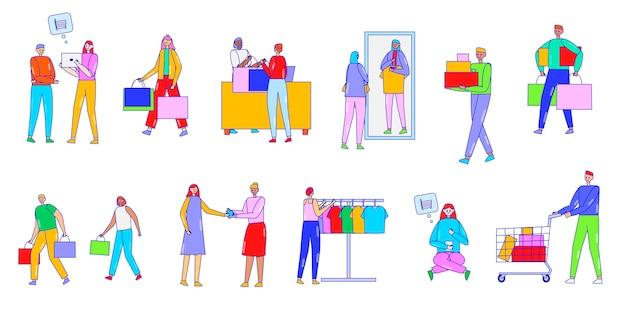Mensen winkelen, kopen te koop, illustratie, lijntekeningen, karakters, geïsoleerd op wit, kopen goederen in de winkel en online winkel, verkoper helpt klanten.