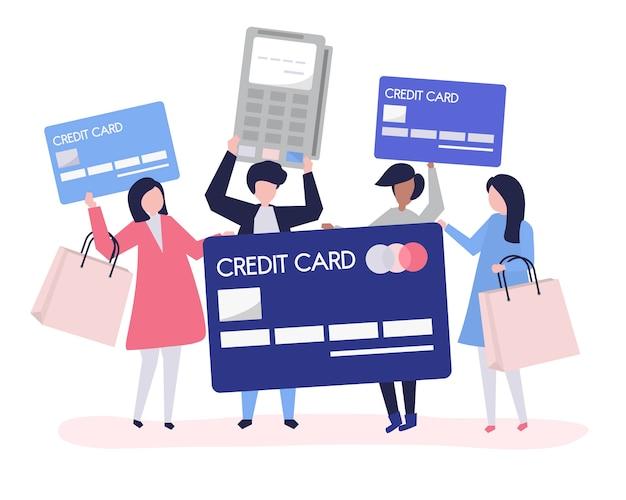 Mensen winkelen met een creditcard