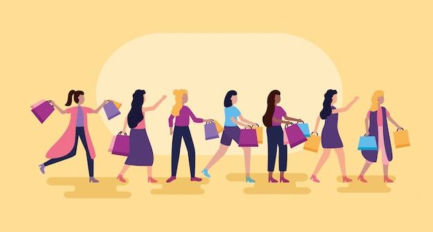 Mensen winkelen met tassen
